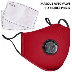 Masque en tissu rouge avec filtre PM2.5