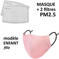 Masque enfant rose pour fille avec filtre PM2.5