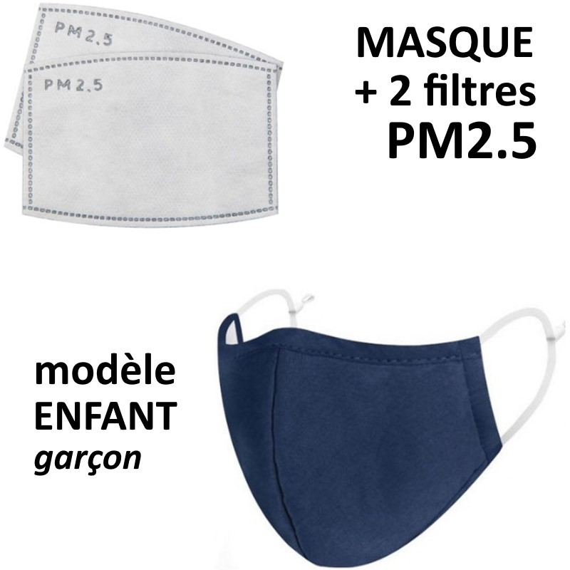 Masque enfant en tissu pour garçon avec filtre PM2.5 bleu