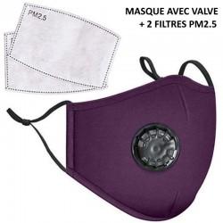 Masque lavable en tissu avec filtre PM2.5 violet