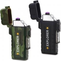Briquet électrique rechargeable Explorer noir ou camouflage