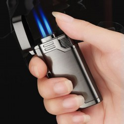 Briquet à gaz rechargeable double flamme