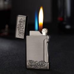 Briquet à gaz rechargeable en métal avec 2 flammes différentes