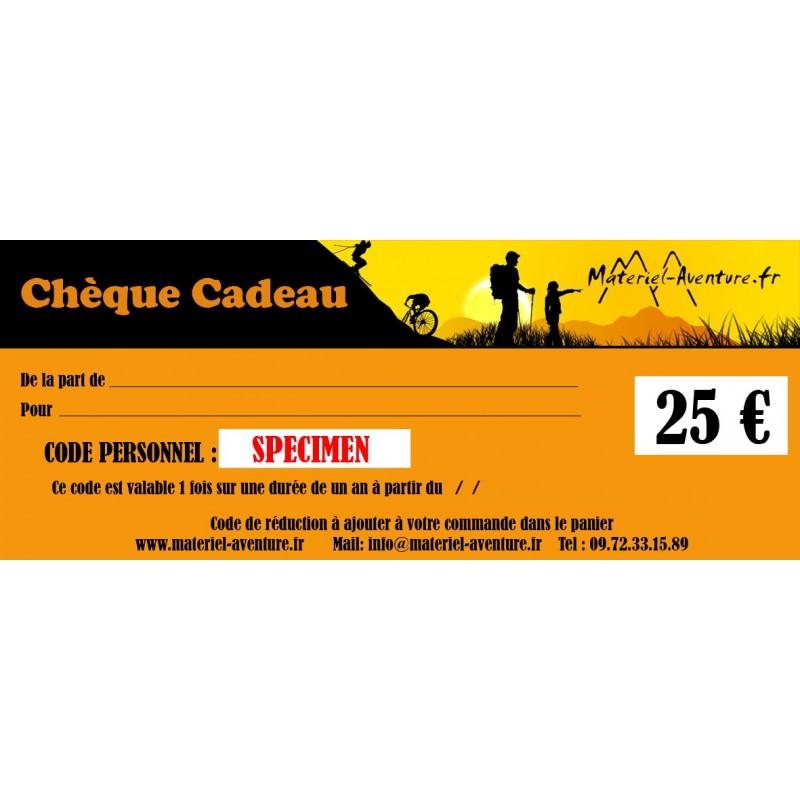 Chèque-cadeau Matériel-Aventure de 25 €