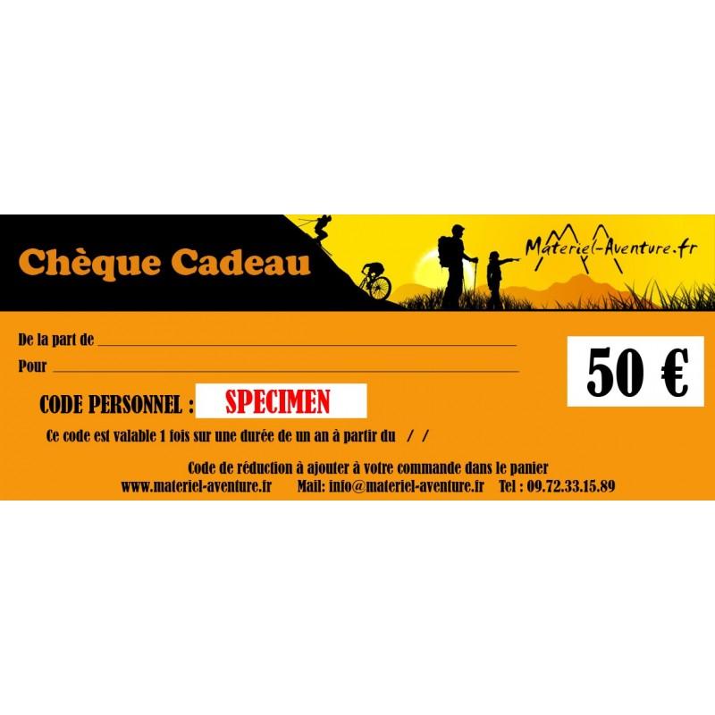 Chèque-cadeau Matériel-Aventure de 50 €