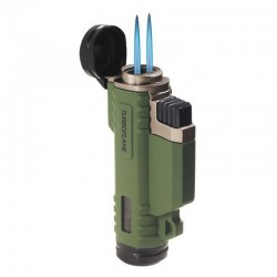 Briquet Turbo double flamme vert Highlander