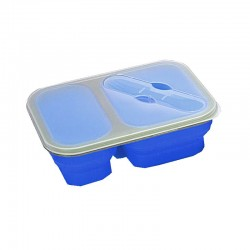 Lunch box pliante Yellowstone bleue avec 2 compartiments et couvert