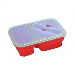 Lunch box pliante Yellowstone rouge avec 2 compartiments et couvert