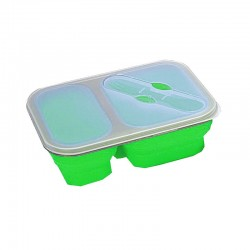 Lunch box pliante Yellowstone verte avec 2 compartiments et couvert