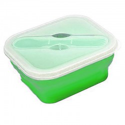 Lunch box pliable Yellowstone verte avec couvert