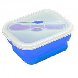 Lunch box pliable Yellowstone bleue avec couvert