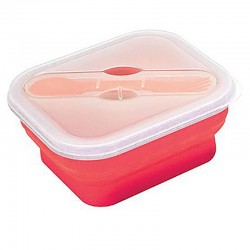 Lunch box pliable Yellowstone rouge avec couvert