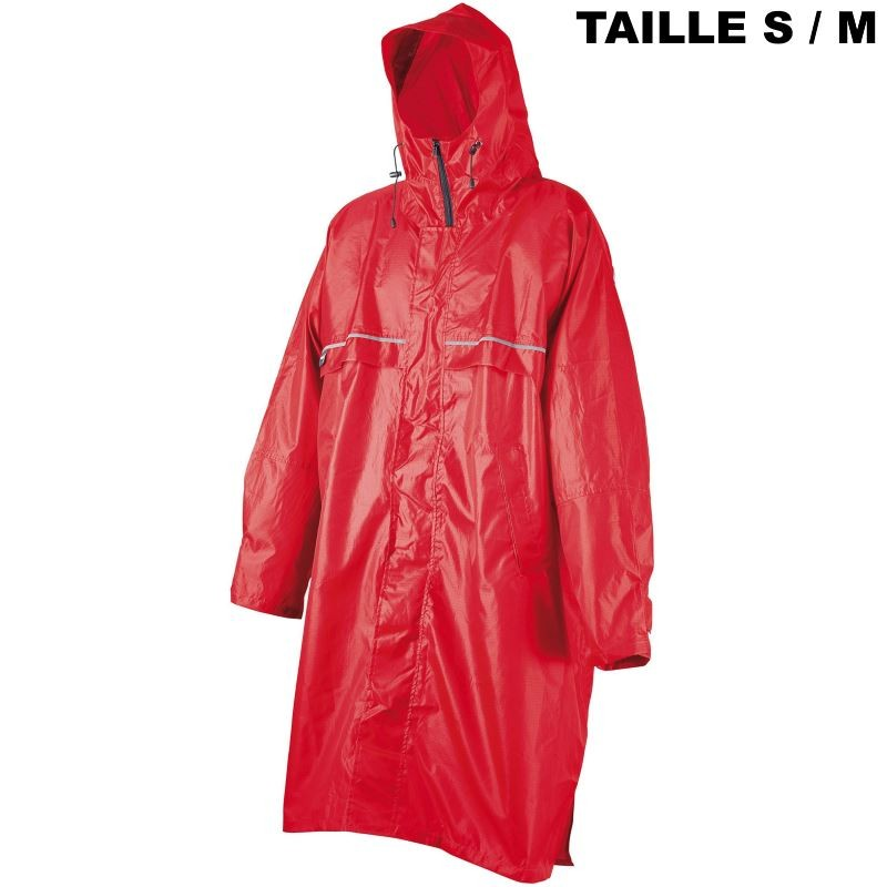 Poncho Camp Cagoule Front Zip rouge