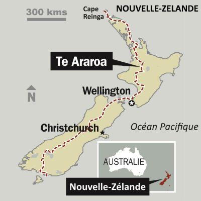 Carte et itinéraire du Te Araroa Trek en Nouvelle-Zélande